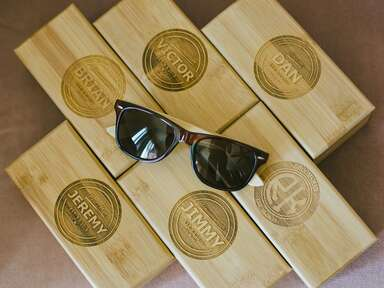 Personalized groomsmen gift boxes with sunglasses