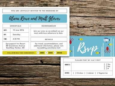 Life Aquatic wedding invitation suite