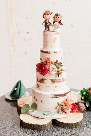 Rustic Semi-Naked Cake with Wood Stand, Flowers and Personalized Topper