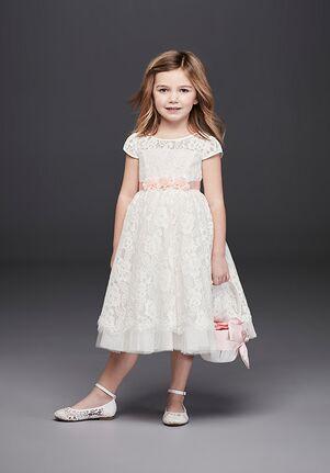 David's Bridal Flower Girl RK1381 White Flower Girl Dress