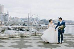 Romantic Couple with Ball Gown and Navy Suit in Seattle