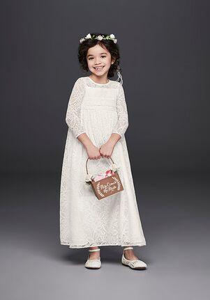 David's Bridal Flower Girl WG1387 White Flower Girl Dress
