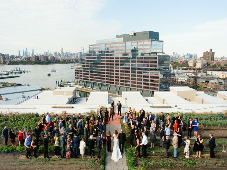 Aerial view of wedding reception in New York
