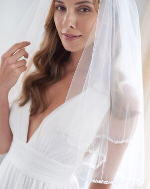 Dareth Colburn Mariah Pearl Beaded Edge Veil with Blusher (VB-5011) Veil