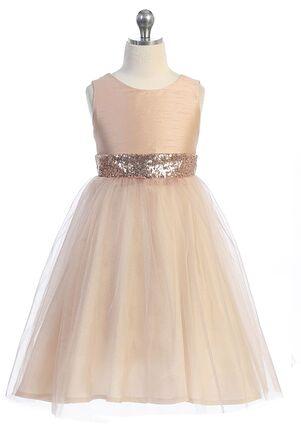 Kid's Dream Rose Gold Sequin Back V Dress Pink Flower Girl Dress