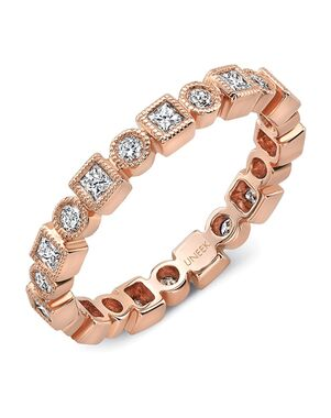 "Uneek Fine Jewelry Uneek ""Broadway II"" Stackable Wedding Band, 18K Rose Gold -LVBNA029R Rose Gold Wedding Ring"