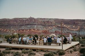Rustic Desert Reception with String Lights and Dining Tables