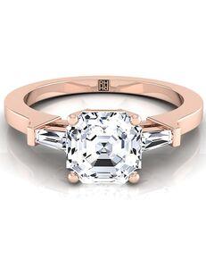 RockHer Unique Asscher Cut Engagement Ring