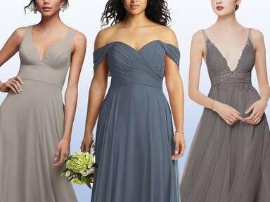 Light, blue and dark gray bridesmaid dresses