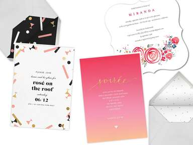 Rosé and wine-themed party invitations