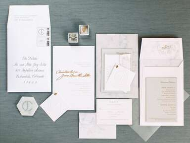 classic white invitation suite with gray marble detail