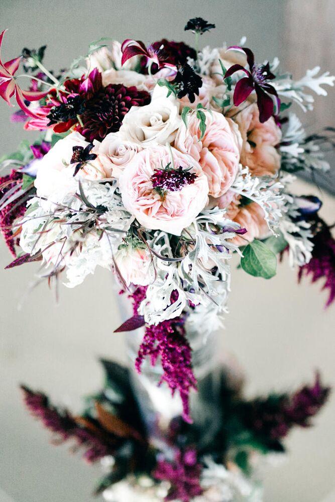 dusty miller and garden rose bouquet