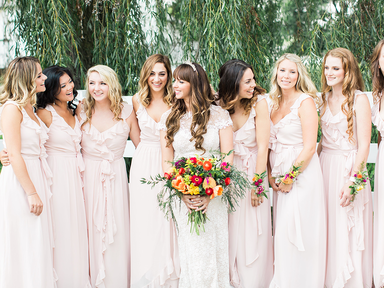 bridesmaids in blush dresses with ruffles