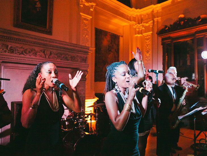 Wedding band performs at reception