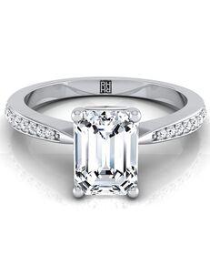 RockHer Unique Emerald Cut Engagement Ring