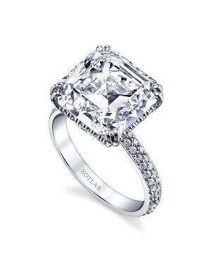 Platinum Jewelry Elegant Asscher Cut Engagement Ring