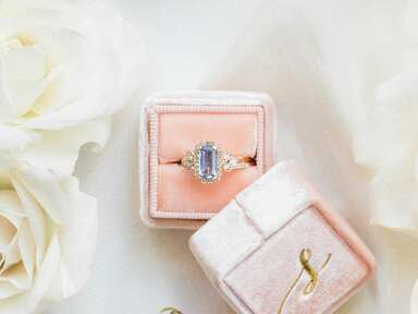 light blue non-diamond engagement ring