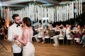 Modern First Dance with Couple Dressed in White Suit Jacket and Sheath Dress