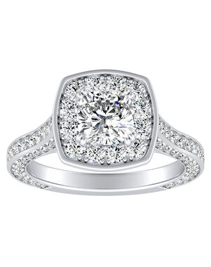 DiamondWish.com Glamorous Cushion Cut Engagement Ring