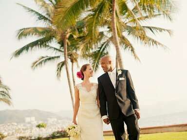 Couple at their oceanside destination wedding