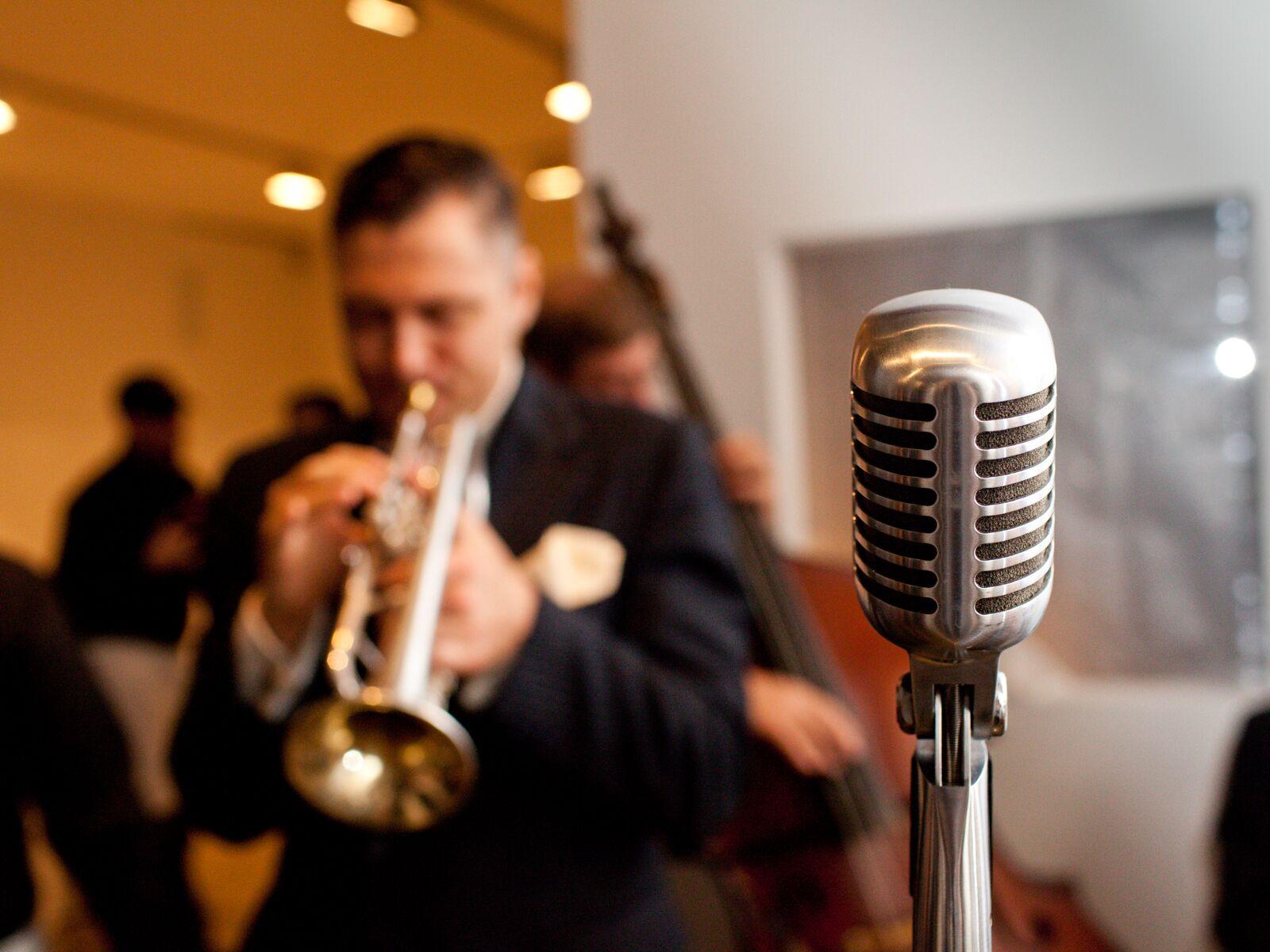 Wedding musician playing trumpet
