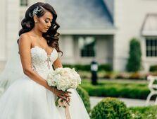 Bride wearing strapless ballgown wedding dress