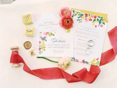 Wedding invitation suite with pink and yellow details