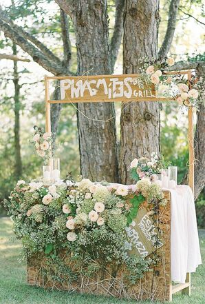 DIY Wood Bar with Signage and Bohemian Flowers