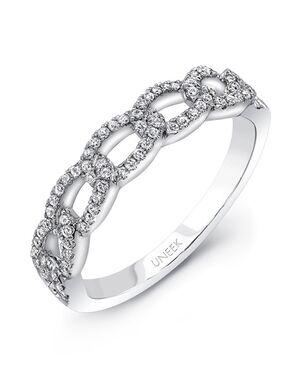 "Uneek Fine Jewelry ""La Mirada"" Stackable Wedding Band, 14K White Gold -LVBNA091W White Gold Wedding Ring"