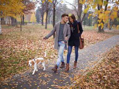 couple on a walk with dog