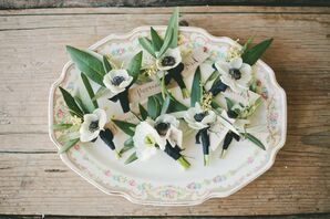 Olive Leaf and White Anemone Boutonnieres