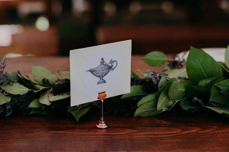 Table Number Artwork with Greenery Garland
