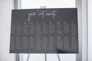 Elegant Black-and-White Seating Chart with Calligraphy