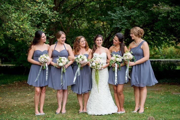 Short, Gray Bill Levkoff Bridesmaid Dresses