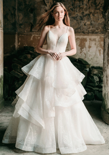 wedding dress with tiered ruffle skirt