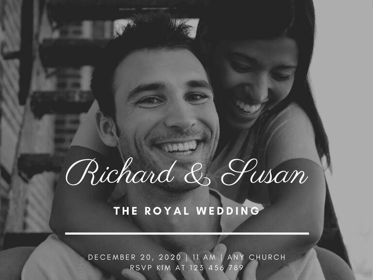 black and white photo wedding invitation