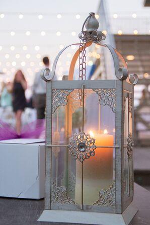 Large Silver Metal Lantern Centerpiece Accents