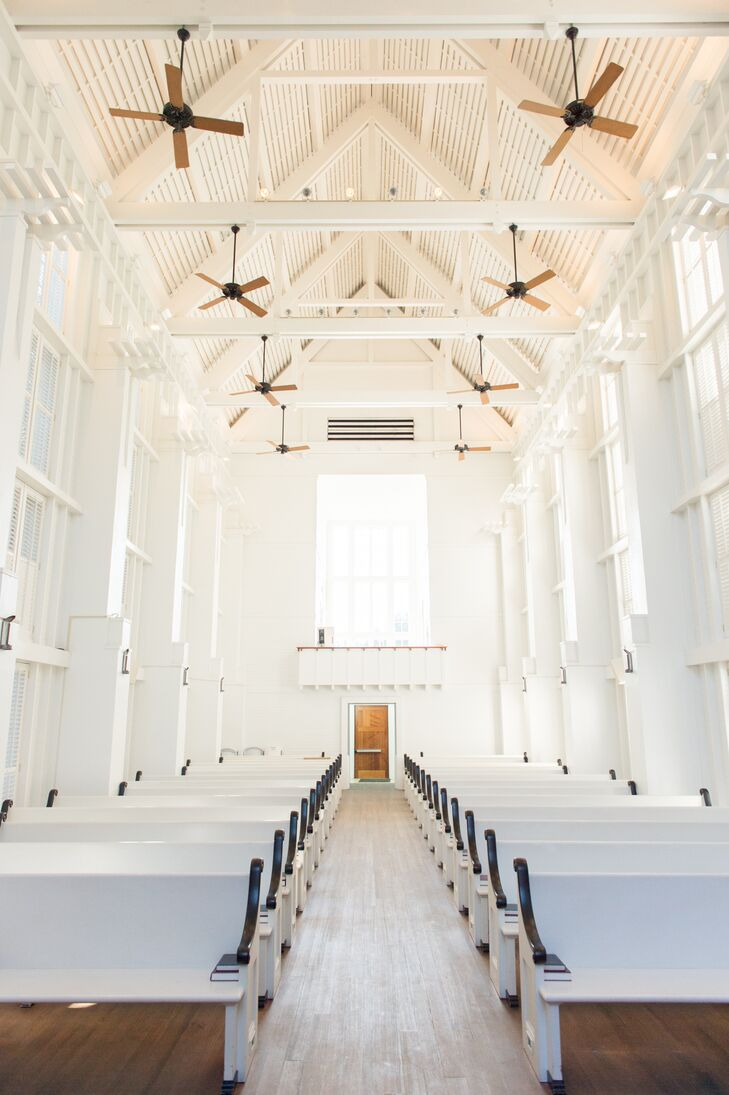 """The couple had a traditional ceremony at a white chapel near Destin, Florida, for personal reasons. """"We'd spent one of our first weekends away together in Destin and fell in love with the place!"""" says Alexandra."""