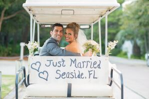 Just Married White Golf Cart Exit