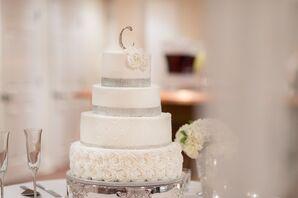 Rhinestone Accented Four-Tier White Wedding Cake