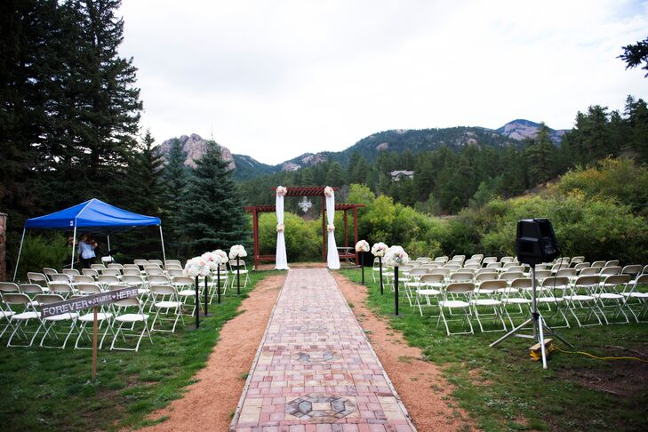 "Megan and Adam loved the Lower Lake Ranch tucked into the mountains in Pine, Colorado. ""We both love living in Colorado, and knew we wanted to have a mountain wedding that was still within a reasonable traveling distance of Denver,"" Megan says. Lower Lake Ranch ended up being the perfect hidden gem."""