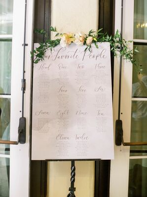 Romantic Seating Chart Sign with Calligraphy and Greenery