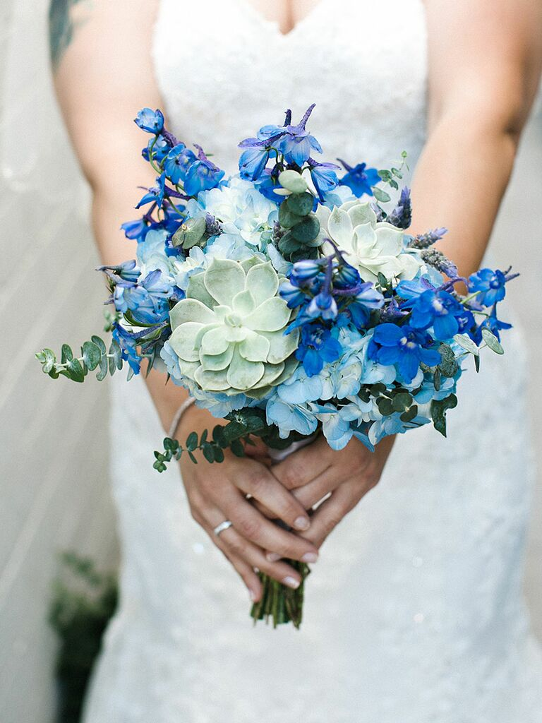 Blue wedding bouquet with delphiniums and hydrangea