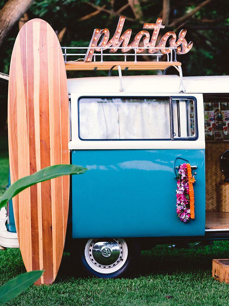 Tropical photo booth van idea for a destination wedding