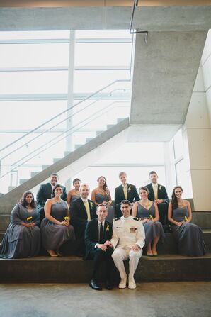 Contemporary Black and Gray Wedding Party Attire with Yellow Accents