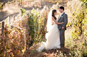 Bride and Groom in Vineyard Setting