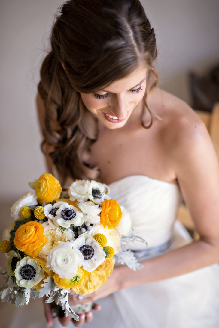 Yellow and White Ranunculus and Anemone Bouquet