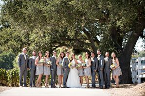 Short Gray Bridesmaid Dresses and Gray Groomsmen Suits