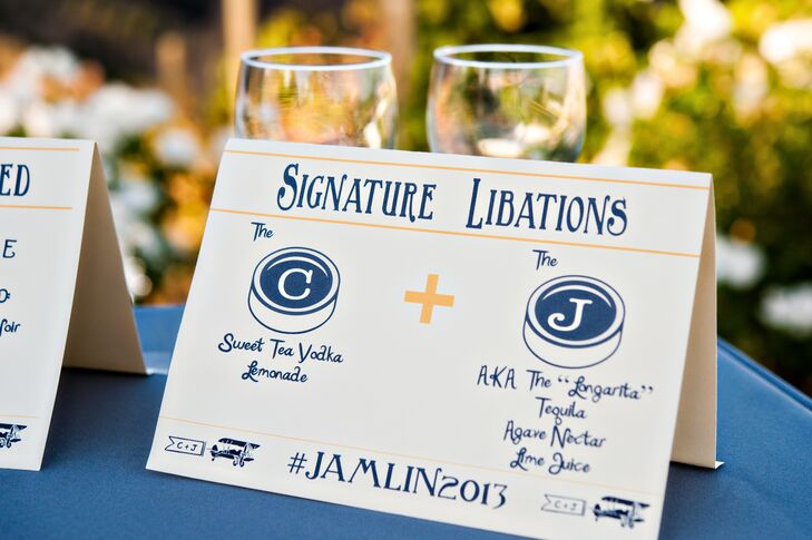 The bride designed a stamp with an airplane and the couple's initials that was incorporated into the invitations and decor.