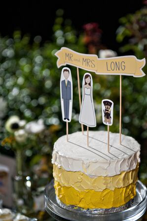 Single-Tier Yellow and Gray Wedding Cake